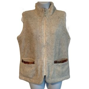 Orvis Fleece Vest with Tapestry Detail sz Small